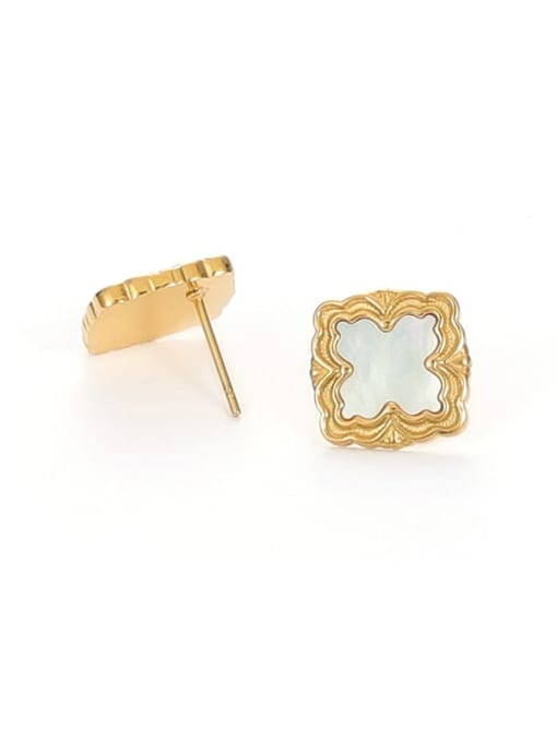 Shell Earrings Brass Shell Square Vintage Stud Earring