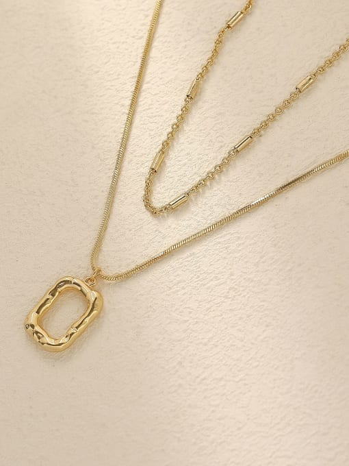 14k Gold Brass Vintage  Hollow  Geometric Pendant Trend Korean Fashion Necklace