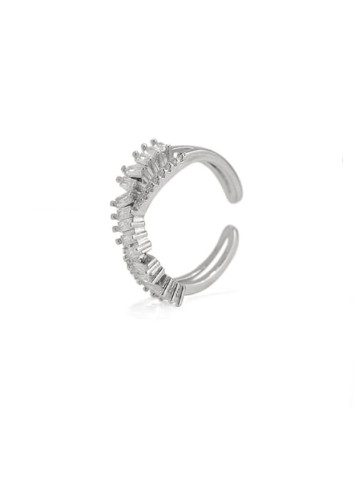 ACCA Brass Cubic Zirconia Geometric Vintage Band Ring