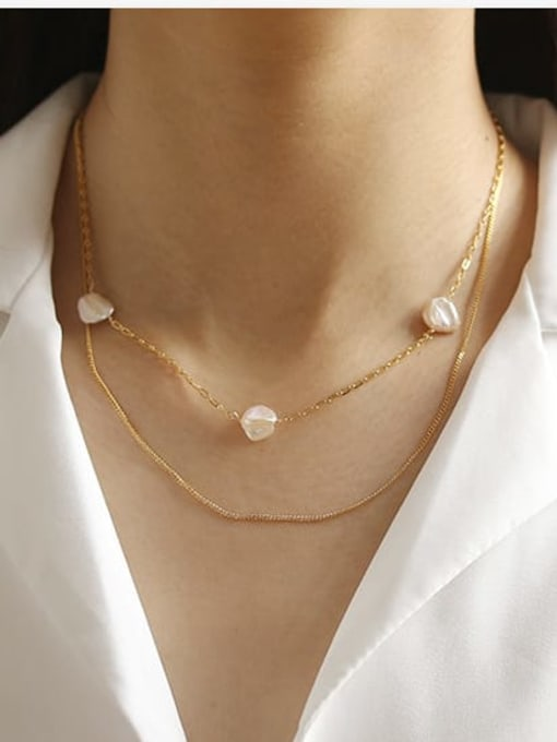 ACCA Brass Freshwater Pearl Geometric Minimalist Necklace 1
