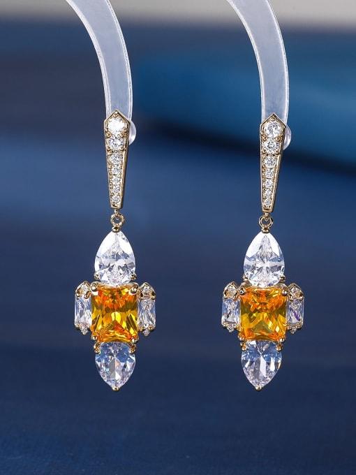 yellow Brass Cubic Zirconia Cross Luxury Stud Earring