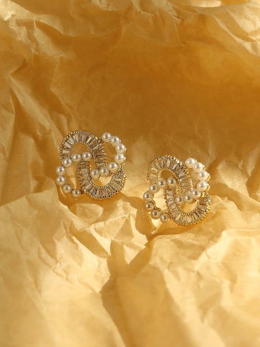 14k Gold Brass Cubic Zirconia Irregular Vintage Stud Earring