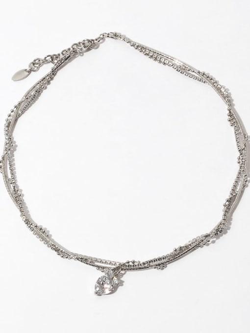Multi layer Necklace Brass Cubic Zirconia Heart Vintage Multi Strand Necklace