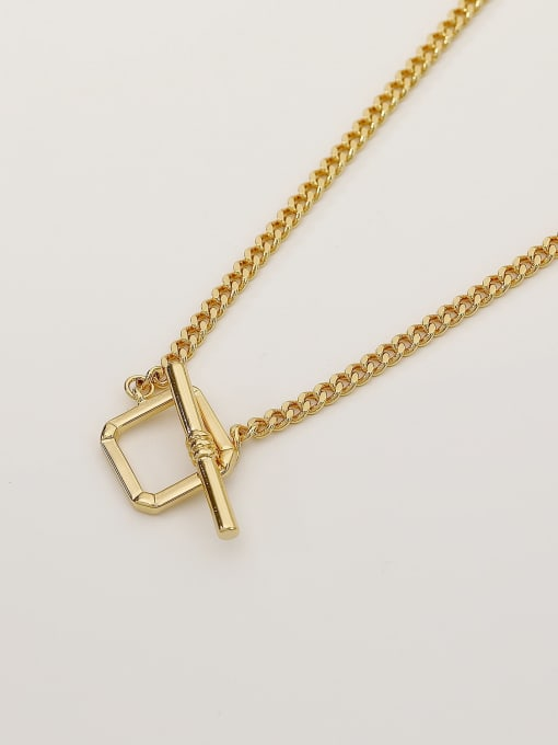 14k Gold Brass Hollow Geometric Minimalist Necklace