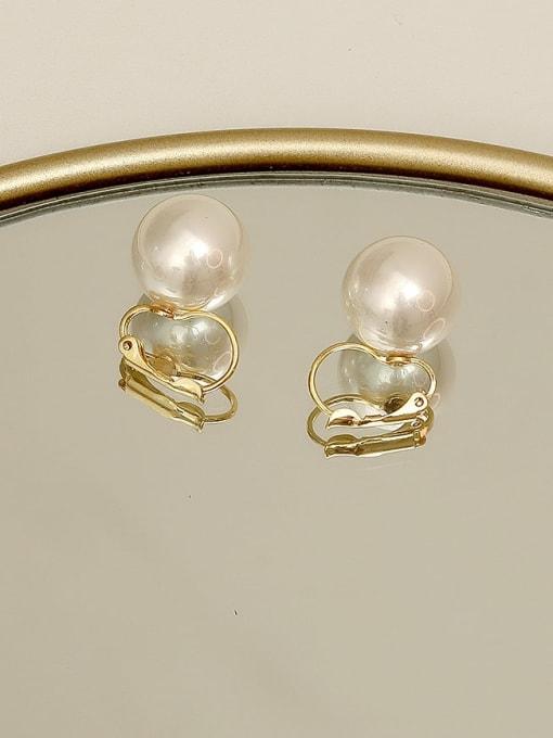 HYACINTH Copper Imitation Pearl Geometric Minimalist Huggie Earring 1
