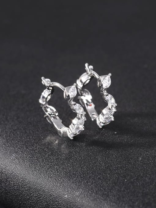 OUOU Brass Cubic Zirconia Geometric Statement Huggie Earring 0