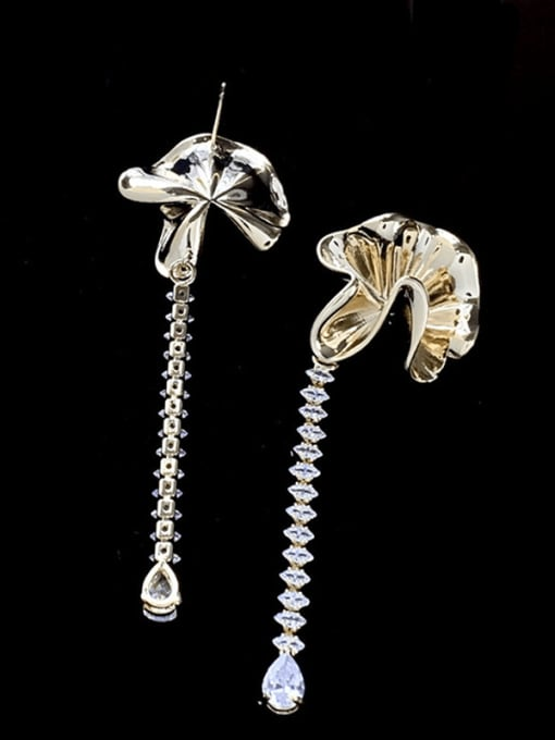 SUUTO Brass Cubic Zirconia Flower Vintage Drop Earring