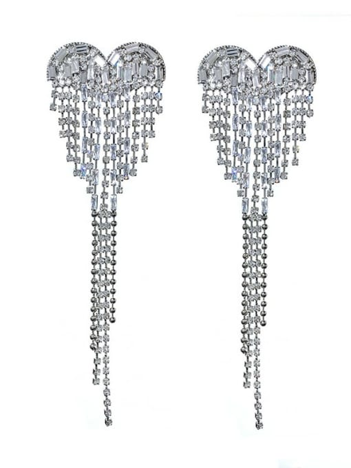 SUUTO Brass Cubic Zirconia Heart tassel Trend Threader Earring 2