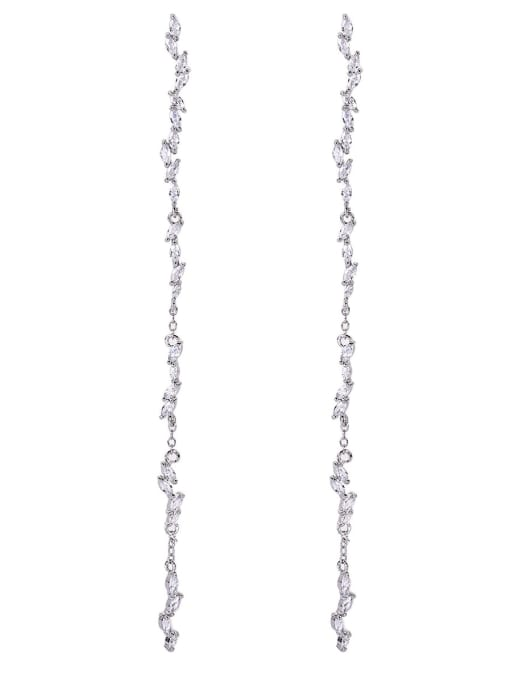 OUOU Brass Cubic Zirconia Tassel Minimalist Threader Earring 4