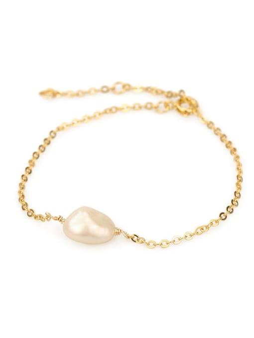 ACCA Brass Freshwater Pearl Irregular Vintage Link Bracelet 3