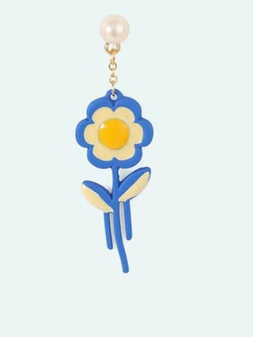Five Color Alloy Enamel Flower Cute Stud Earring 2