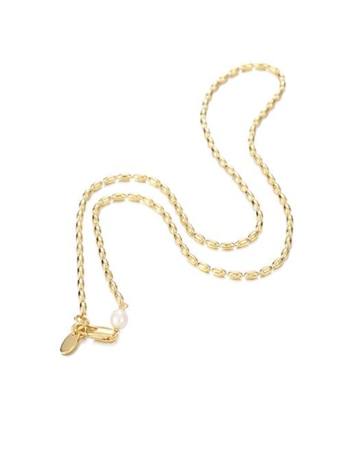 golden Brass Oval  Bead Minimalist Beaded Necklace
