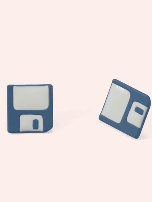 blue Alloy Enamel Geometric Cute Stud Earring