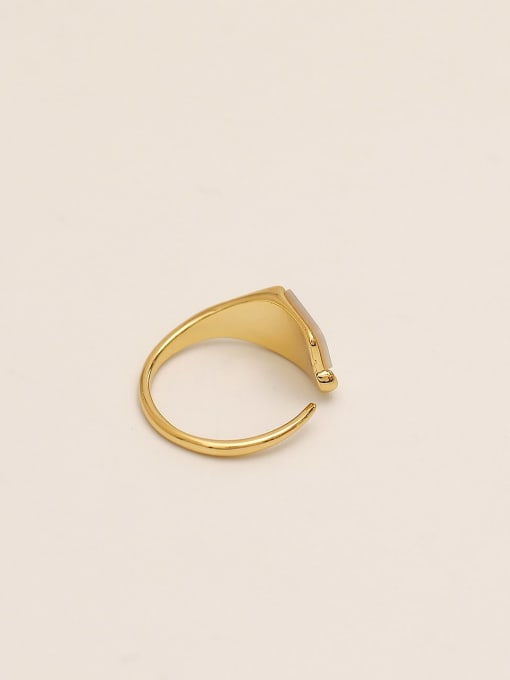 HYACINTH Brass Shell Geometric Minimalist Band Ring 3