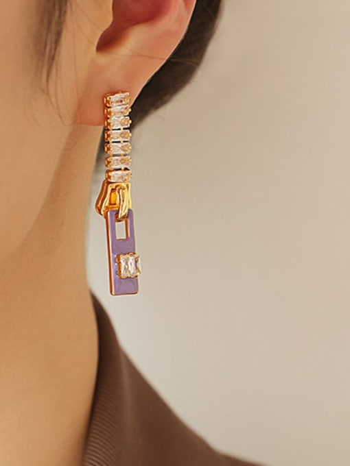 Purple Oil Drop Earrings Brass Cubic Zirconia Rectangle Minimalist Drop Earring