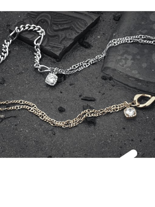 TINGS Brass Cubic Zirconia Geometric Vintage Necklace 1