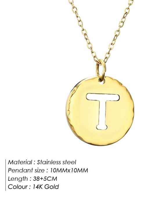 T Titanium Steel Letter Minimalist Round Pendant Necklace