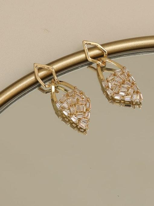 HYACINTH Brass Cubic Zirconia Geometric Dainty Drop Earring 2