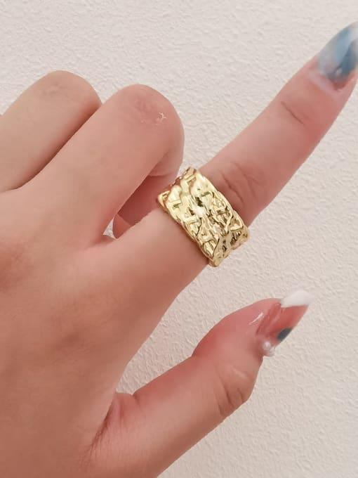 HYACINTH Brass Irregular Geometric Vintage Band Ring 1
