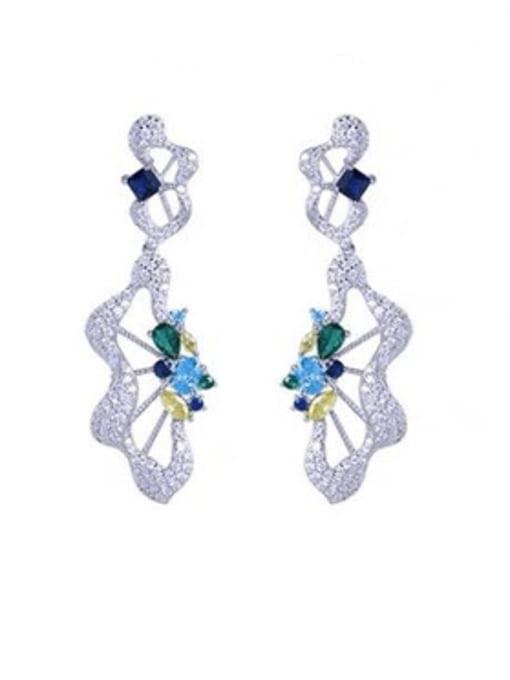 platinum Brass Cubic Zirconia Irregular Luxury Drop Earring