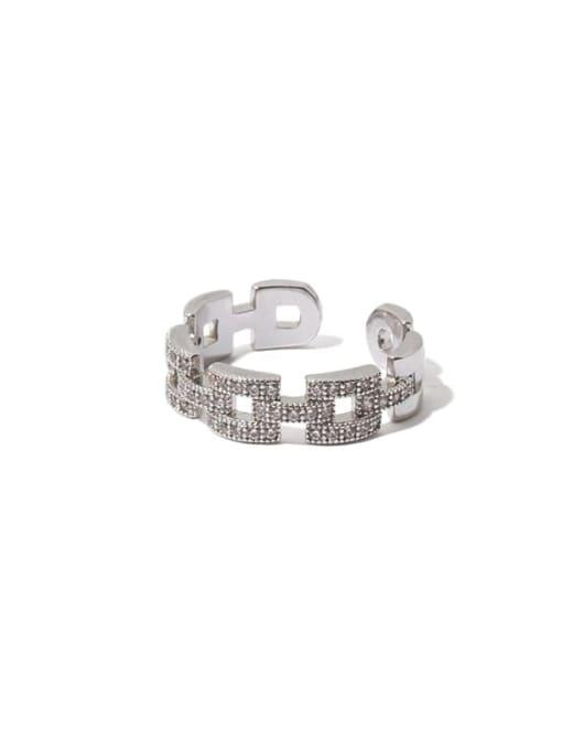 TINGS Brass Cubic Zirconia Geometric Minimalist Band Ring 0