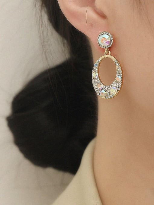 HYACINTH Brass Rhinestone Geometric Vintage Drop Earring 1