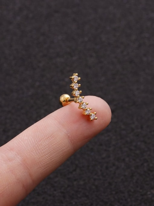 Gold 6#(Single) Brass Cubic Zirconia Geometric Minimalist Stud Earring
