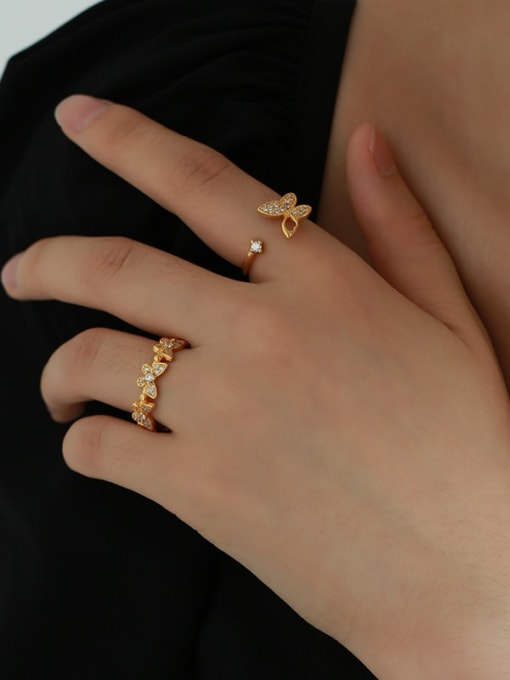 Five Color Brass Cubic Zirconia Butterfly Minimalist Band Ring 4