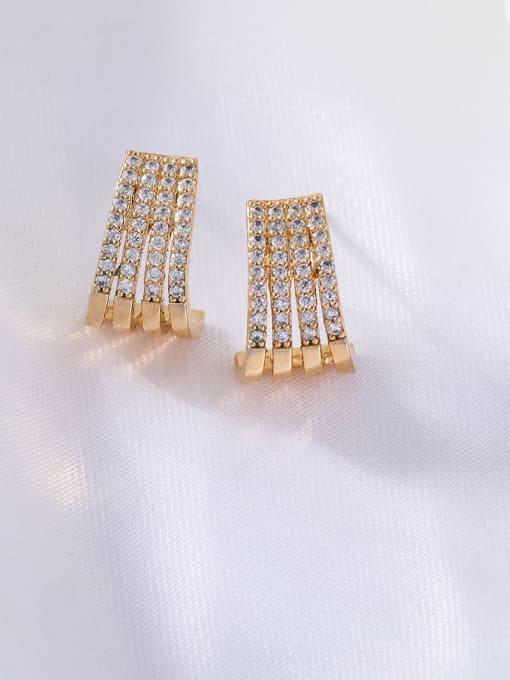 OUOU Brass Cubic Zirconia Geometric Ethnic Stud Earring