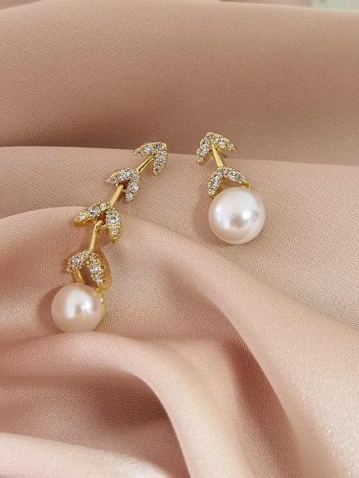 14k Gold Brass Imitation Pearl  Asymmetry Geometric Minimalist Drop Earring