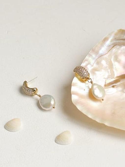 ACCA Brass Freshwater Pearl Geometric Classic Chandelier Earring 2