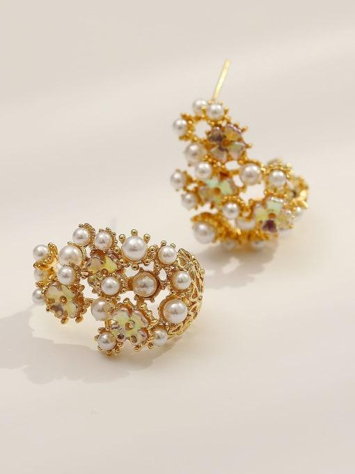 HYACINTH Brass Imitation Pearl Irregular Vintage Stud Earring 0