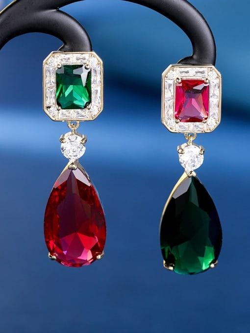 OUOU Brass Cubic Zirconia Water Drop Luxury Drop Earring 2