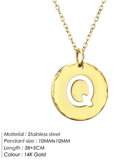 Q Titanium Steel Letter Minimalist Round Pendant Necklace