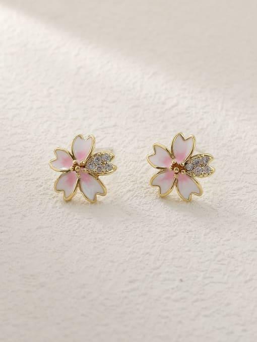HYACINTH Brass Enamel Heart Flower Cute Stud Trend Korean Fashion Earring