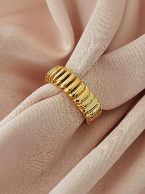 18k gold Brass Geometric Vintage Band Ring
