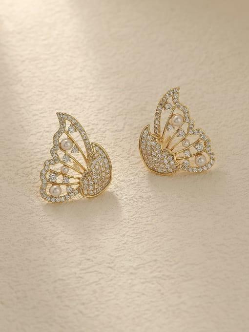 HYACINTH Brass Cubic Zirconia Butterfly Vintage Stud Trend Korean Fashion Earring