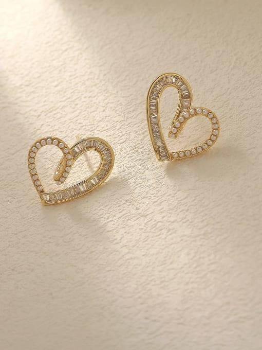 14k Gold Brass Cubic Zirconia Heart Cute Stud Trend Korean Fashion Earring