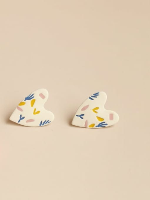 Five Color Alloy Acrylic Heart Cute Stud Earring 0
