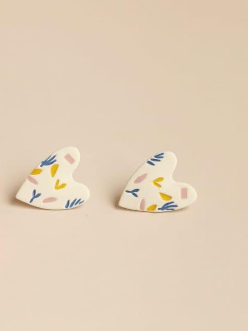 Five Color Alloy Acrylic Heart Cute Stud Earring