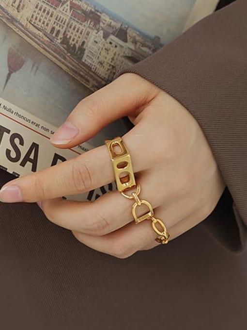 ACCA Brass Geometric Hip Hop Band Ring 1