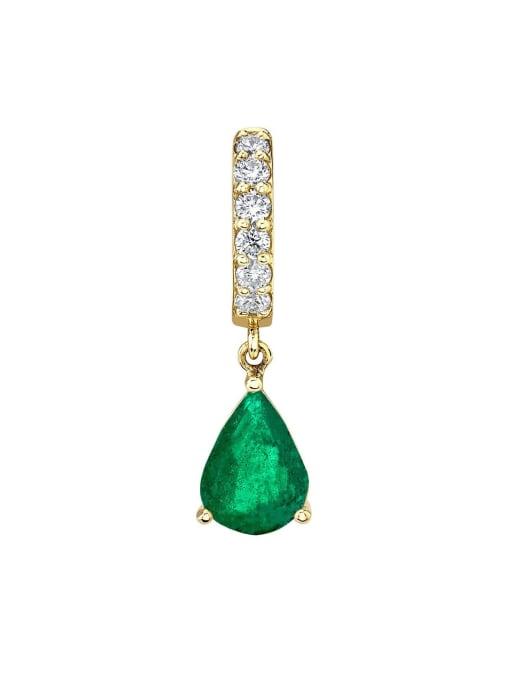 green Brass Cubic Zirconia Water Drop Minimalist Drop Earring