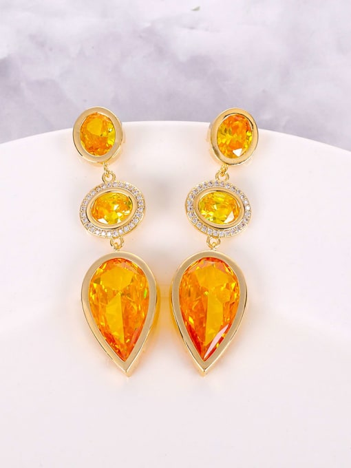 yellow Brass Cubic Zirconia Multi Color Water Drop Luxury Drop Earring