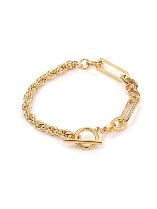 Five Color Brass Geometric Hip Hop Link Bracelet 0
