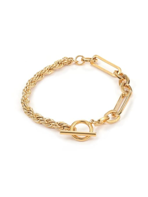Five Color Brass Geometric Hip Hop Link Bracelet