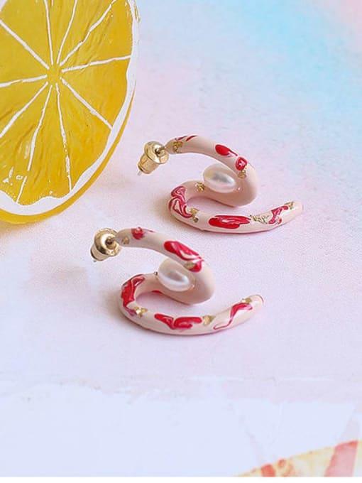 Five Color Brass Enamel Irregular Minimalist Stud Earring 2