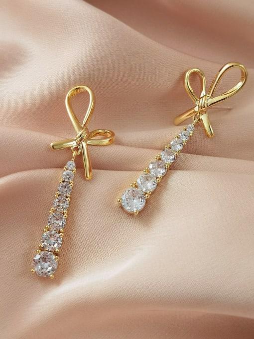 HYACINTH Brass Cubic Zirconia Bowknot Trend Drop Long Earring 2