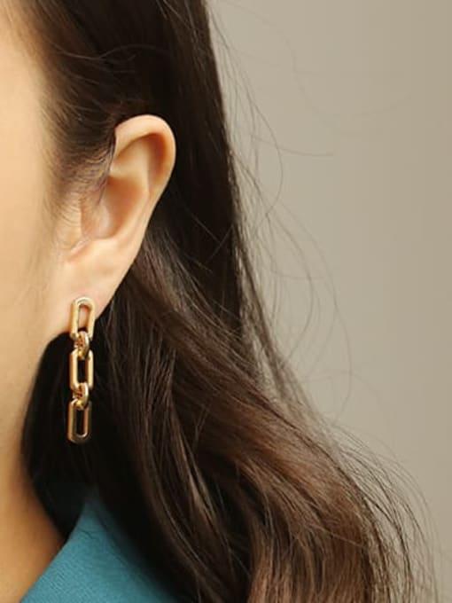 ACCA Brass Hollow Geometric chain Ethnic Drop Earring 2
