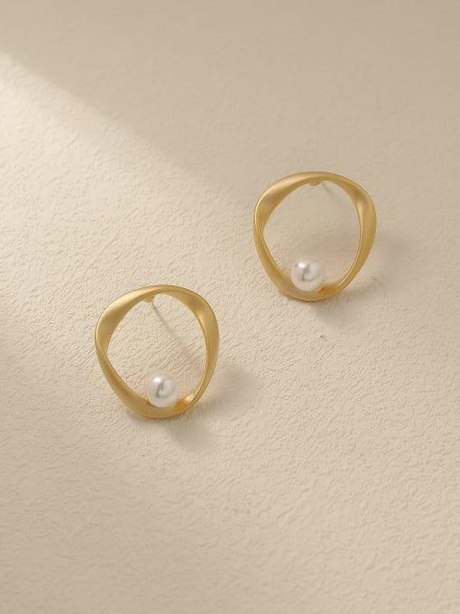 Dumb gold Brass Imitation Pearl Geometric Minimalist Stud Trend Korean Fashion Earring
