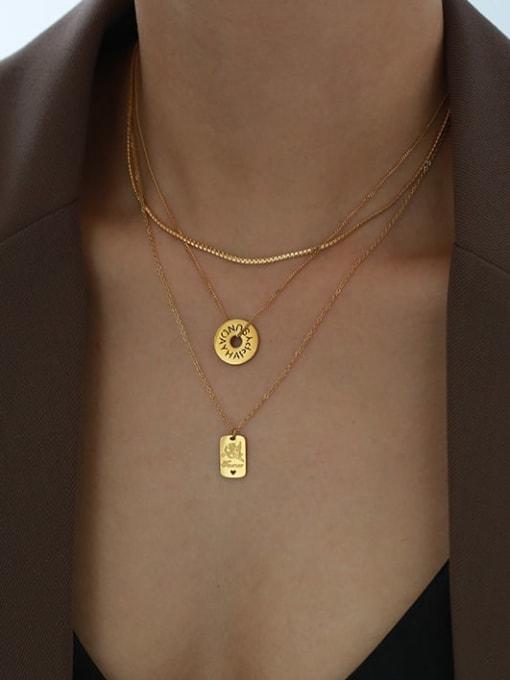 Five Color Titanium Steel Locket Minimalist Geometric  Pendant Necklace 1